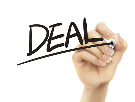 Deal written by hand, 3D illustration realistic hand writing on transparent board