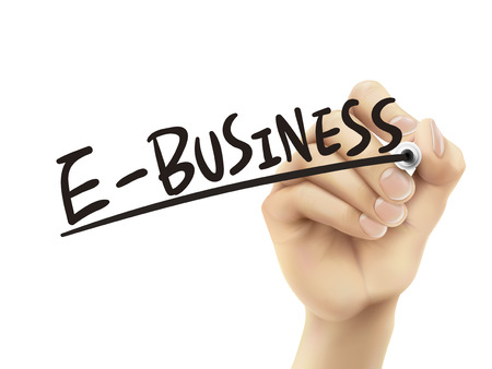 ebusiness: E-business written by hand, 3D illustration realistic hand writing on transparent board