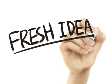 fresh idea: Fresh idea written by hand, 3D illustration realistic hand writing on transparent board Illustration