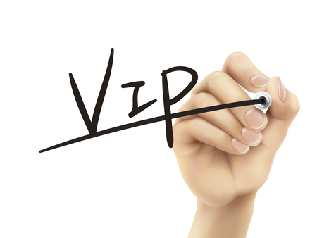 in need of space: VIP written by hand, 3D illustration realistic hand writing on transparent board