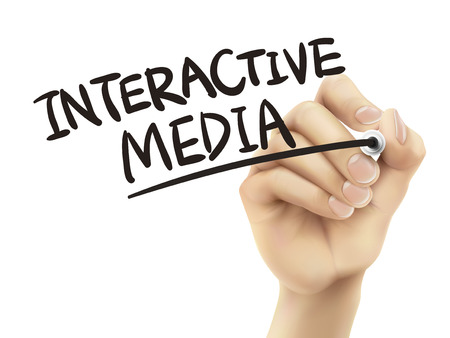socialize: Interactive media written by hand, 3D illustration realistic hand writing on transparent board