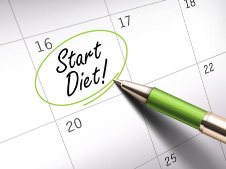 ballpoint: start diet words circle marked on a calendar by a green ballpoint pen. 3D illustration Illustration