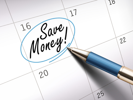 Save money words circle marked on a calendar by a blue ballpoint pen