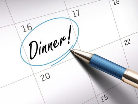 ballpoint: Dinner words circle marked on a calendar by a blue ballpoint pen