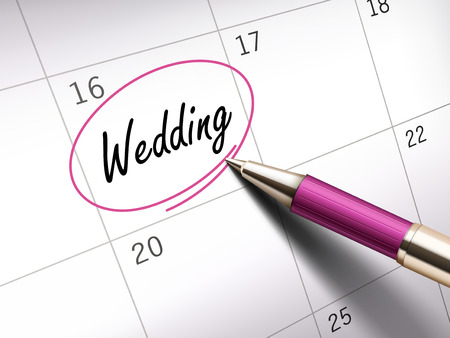 vows: wedding word circle marked on a calendar by a pink pen. 3D illustration