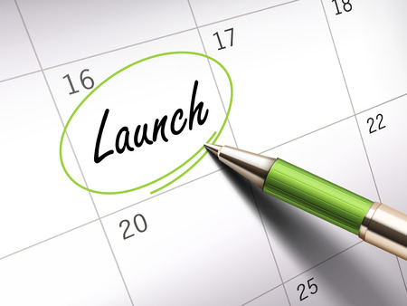 unfold: launch word marked on a calendar by a green ballpoint pen. 3D illustration Illustration