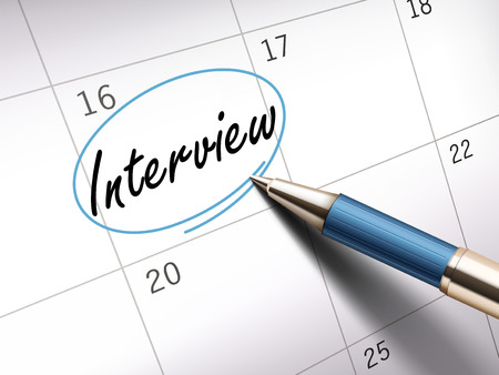 contracted: interview word circle marked on a calendar by a blue ballpoint pen. 3D illustration