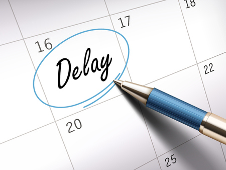 delay word circle marked on a calendar by a blue ballpoint pen. 3D illustration 일러스트