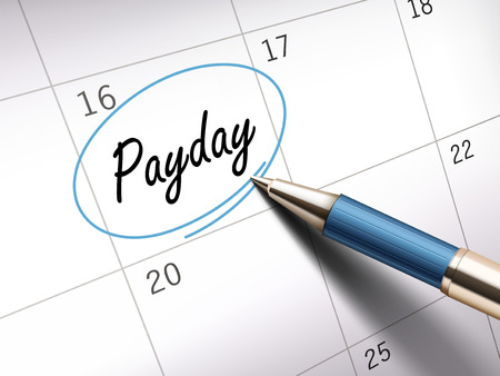 payday: payday word circle marked on a calendar by a blue ballpoint pen. 3D illustration