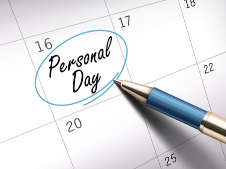 personal day words circle marked on a calendar by a blue ballpoint pen. 3D illustration