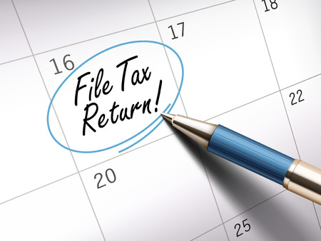accountancy: file tax return words circle marked on a calendar by a blue ballpoint pen. 3D illustration Illustration