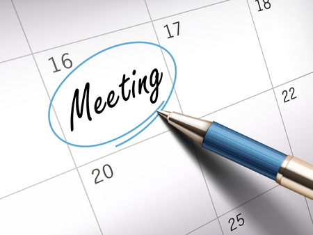 ballpoint: meeting word circle marked on a calendar by a blue ballpoint pen. 3D illustration Illustration