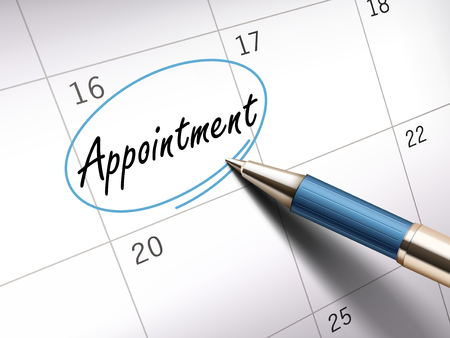 appointment word circle marked on a calendar by a blue ballpoint pen. 3D illustration Illustration
