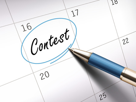 vying: contest word circle marked on a calendar by a blue ballpoint pen. 3D illustration
