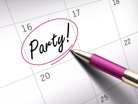 ballpoint: party word circle marked on a calendar by a pink ballpoint pen. 3D illustration