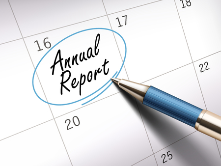 annual report words circle marked on a calendar by a blue ballpoint pen. 3D illustration