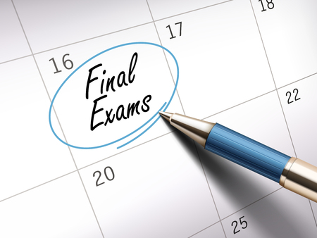 final exams words circle marked on a calendar by a blue ballpoint pen. 3D illustration