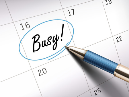 ballpoint: Busy words circle marked on a calendar by a blue ballpoint pen Illustration