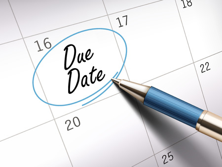 due date: due date words circle marked on a calendar by a blue ballpoint pen. 3D illustration Illustration