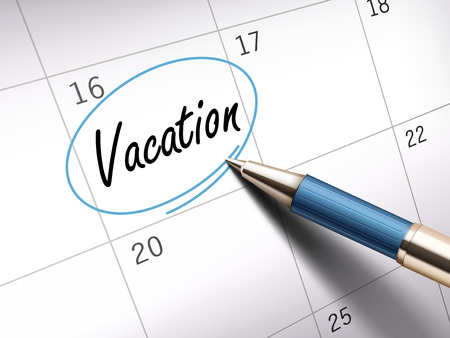 vacation word circle marked on a calendar by a blue pen. 3D illustration
