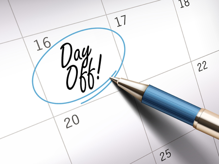ballpoint: Day off words circle marked on a calendar by a blue ballpoint pen