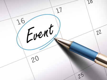 event word circle marked on a calendar by a blue ballpoint pen. 3D illustration Stock Illustratie
