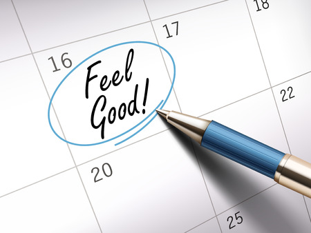 Feel good words circle marked on a calendar by a blue ballpoint pen Illustration