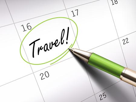 ballpoint: Travel words circle marked on a calendar by a green ballpoint pen
