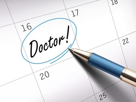 ballpoint: Doctor words circle marked on a calendar by a blue ballpoint pen