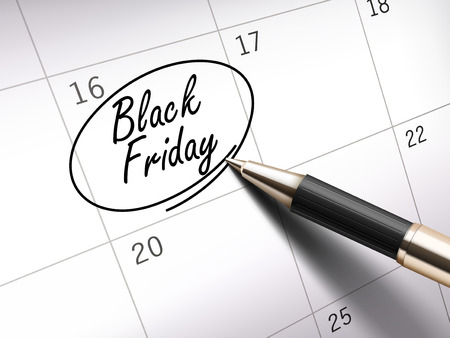 ballpoint: Black Friday words circle marked on a calendar by a black ballpoint pen Illustration