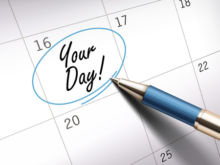 your day words circle marked on a calendar by a blue ballpoint pen. 3D illustration