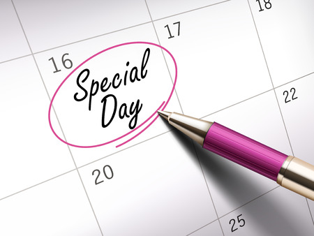 special day words circle marked on a calendar by a pink ballpoint pen. 3D illustration