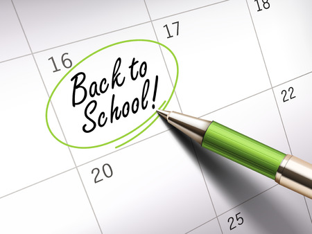 ballpoint: Back to school words circle marked on a calendar by a green ballpoint pen