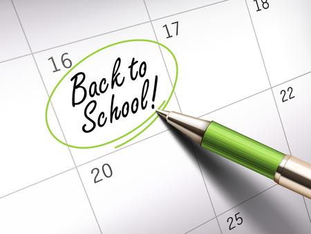 calendario escolar: Volver a la escuela palabras círculo marcado en un calendario por un bolígrafo verde