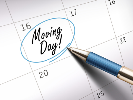 moving day words circle marked on a calendar by a blue ballpoint pen. 3D illustration