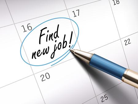 ballpoint: Find new job words circle marked on a calendar by a blue ballpoint pen