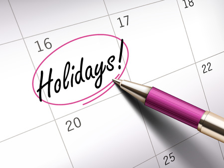 ballpoint: Holidays words circle marked on a calendar by a pink ballpoint pen