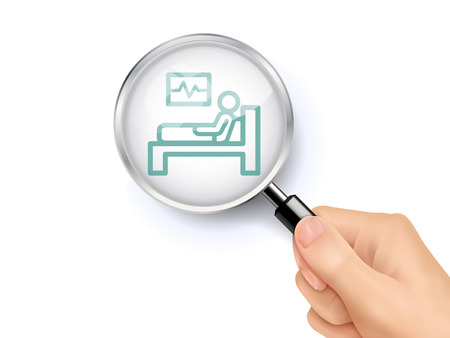 Hospital bed icon sign showing through by magnifying glass held by hand. 3D illustration.