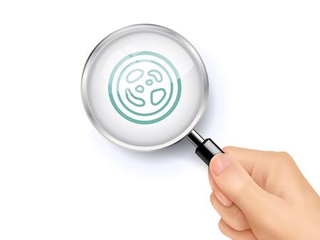 細菌アイコン記号表示を虫眼鏡を手で開催。3 D イラスト。