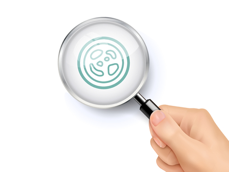Germs icon sign showing through by magnifying glass held by hand. 3D illustration.