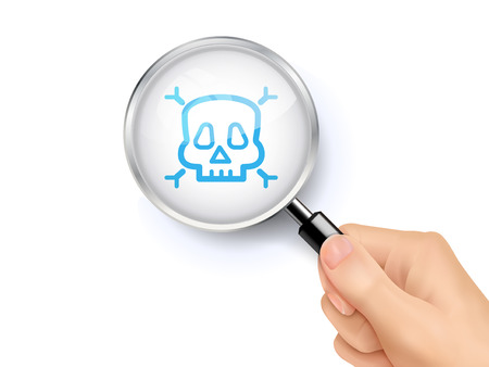 mortal danger: Skull icon sign showing through by magnifying glass held by hand. 3D illustration.