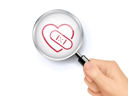 Heart with bandage icon sign showing through by magnifying glass held by hand. 3D illustration. 向量圖像