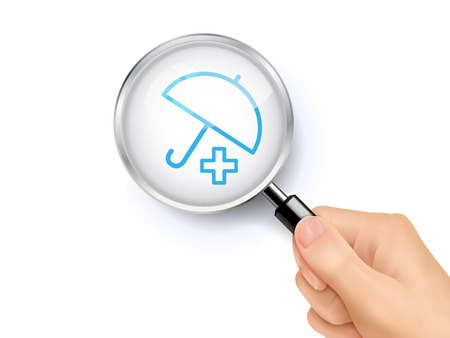 polyclinic: Medical Insurance icon sign showing through by magnifying glass held by hand. 3D illustration. Illustration