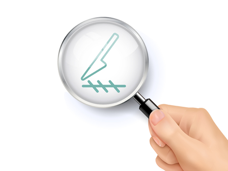Scalpel cut icon sign showing through by magnifying glass held by hand. 3D illustration.