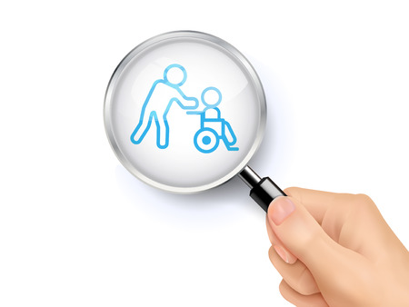 hands holding sign: Disabled icon sign showing through by magnifying glass held by hand. 3D illustration. Illustration