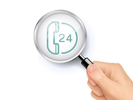 Medische oproep teken pictogram laten zien door middel van een vergrootglas in de hand gehouden. 3D-afbeelding. Stock Illustratie