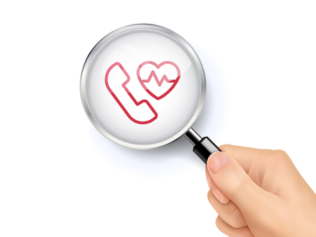 hand beats: Heartbeat and cardiogram icon sign showing through by magnifying glass held by hand. 3D illustration.