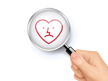 bad condition: Sad heart icon sign showing through by magnifying glass held by hand. 3D illustration. Illustration