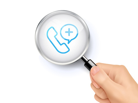 advisory: Medical advisory icon sign showing through by magnifying glass held by hand. 3D illustration. Illustration