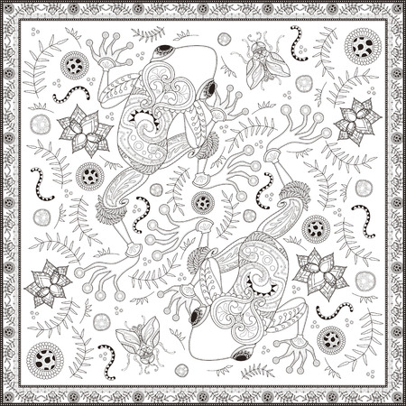 two page: Fantastic adult coloring page, top view of two frogs, decorative floral elements around them. Anti-stress pattern for coloring.